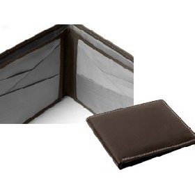 Brown Leather & Stainless Steel Bi-fold Wallet